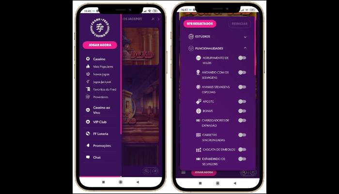 menu principal do site móvel