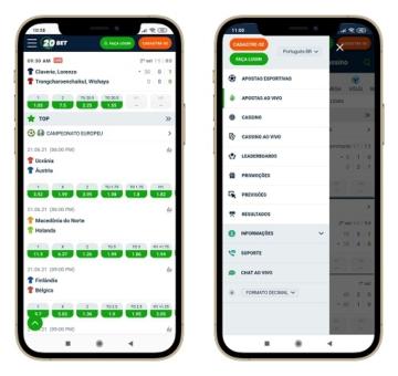interface smartphone 20bet