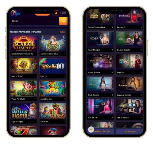 Tela do JVSpin no celular